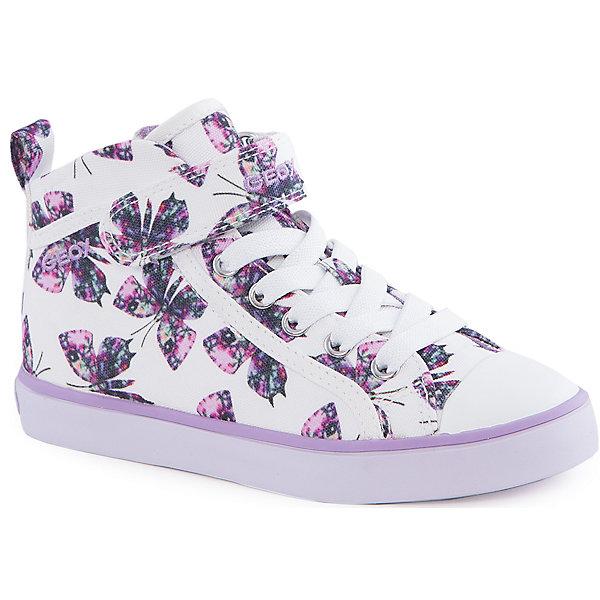 Кеды для девочки GeoxКеды<br>Ботинки для девочки от популярной марки GEOX (Геокс).<br><br>Эти светлые Ботинки с принтом - отличная обувь для нового весеннего сезона. Модель очень стильно и оригинально смотрится.<br>Производитель обуви заботится не только о внешнем виде, но и стабильно высоком качестве продукции. GEOX (Геокс) разработал специальную дышащую подошву, которая не пропускает влагу внутрь, а также высокотехнологичную стельку.<br><br>Отличительные особенности модели:<br><br>- цвет: белый;<br>- украшены принтом с бабочками;<br>- гибкая водоотталкивающая подошва с дышащей мембраной;<br>- мягкий и легкий верх;<br>- защита пальцев;<br>- стильный дизайн;<br>- удобная застежка-молния сбоку, шнуровка, липучка;<br>- комфортное облегание;<br>- верх обуви и подкладка сделаны без использования хрома.<br><br>Дополнительная информация:<br><br>- Температурный режим: от +10° С до 25° С.<br><br>- Состав:<br><br>материал верха: текстиль, синтетический материал<br>материал подкладки: текстиль<br>подошва: 100% резина<br><br>Ботинки для девочки GEOX (Геокс) (Геокс) можно купить в нашем магазине.<br>Ширина мм: 250; Глубина мм: 150; Высота мм: 150; Вес г: 250; Цвет: белый; Возраст от месяцев: 36; Возраст до месяцев: 48; Пол: Женский; Возраст: Детский; Размер: 27,29,35,26,28,30,32,33,36,31,37,34; SKU: 4519105;