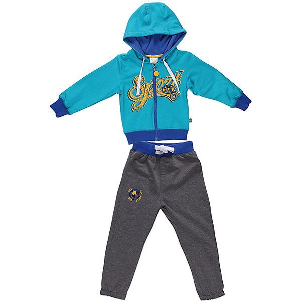 Спортивный костюм для мальчика Sweet BerryКомплекты<br>Яркий спортивный костюм для мальчика. Толстовка с капюшоном на яркой трикотажной подкладке. Украшена принтом и шевроном.   Брюки на поясе с трикотажной резинкой, регулируется хлопковым шнурком.<br>Состав:<br>95% хлопок 5% эластан<br>Ширина мм: 247; Глубина мм: 16; Высота мм: 140; Вес г: 225; Цвет: синий; Возраст от месяцев: 9; Возраст до месяцев: 12; Пол: Мужской; Возраст: Детский; Размер: 80,98,86,92; SKU: 4522124;