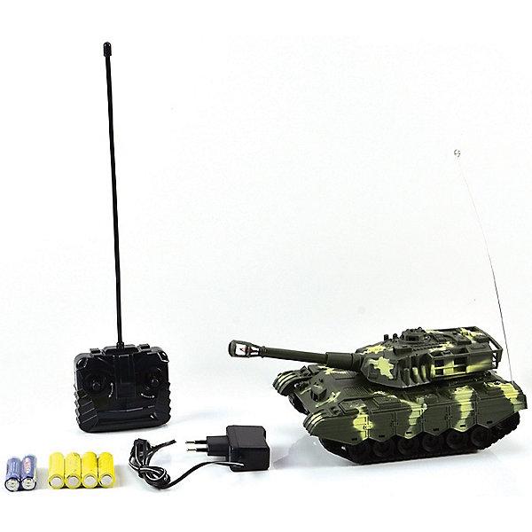 Танк МТ-72, со светом и звуком, на радиоуправлении, Mioshi ArmyВоенный транспорт<br>Танк МТ-72 на радиоуправлении порадует всех юных любителей военной техники. Игрушка является уменьшенной точной копией настоящего танка и выполнена в масштабе 1:28. Танк управляется с помощью пульта радиоуправления, может двигаться во всех направлениях, поворачивать башню на 360 градусов, пушка поднимается и опускается. Во время передвижения слышен звук движущейся машины, шум поворота пушки и звук выстрела. Имеются световые эффекты. Питание осуществляется от аккумулятора (входит в комплекте поставки вместе с зарядным устройством). Игрушка выполнена из качественного и прочного материала, упакована в яркую подарочную коробку. Высокое качество и надежность обеспечивают танку Mioshi Army долгий срок эксплуатации.<br><br>Дополнительная информация:<br><br>- В комплекте: танк, пульт дистанционного управления, зарядное устройство, аккумуляторная батарея, инструкция. <br>- Требуются батарейки (входят в комплект).<br>- Материал: пластик.<br>- Размер танка: 26 см.<br>- Размер: 29 х 15 х 14 см.<br>- Вес: 0,472 кг.<br><br>Танк МТ-72, со светом и звуком, на радиоуправлении, Mioshi Army, можно купить в нашем интернет-магазине.<br>Ширина мм: 290; Глубина мм: 150; Высота мм: 140; Вес г: 472; Возраст от месяцев: 36; Возраст до месяцев: 72; Пол: Мужской; Возраст: Детский; SKU: 4540562;