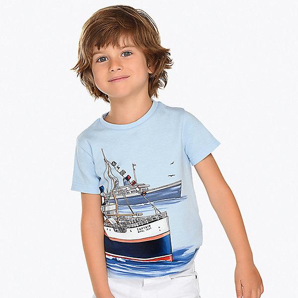 Купить Футболка Mayoral для мальчика, Индия, голубой, 116, 92, 104, 110, 122, 134, 98, 128, Мужской