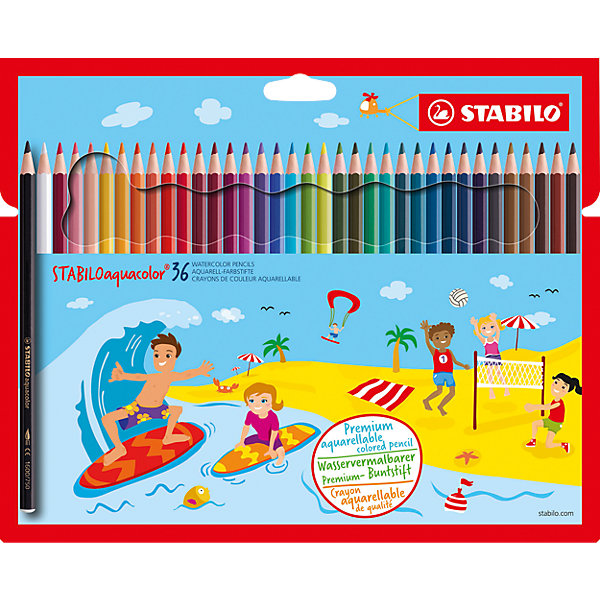 STABILO Набор цветных карандашей Stabilo Aquacolor 36цв, картон карандаши bruno visconti набор карандашей цветных disney белоснежка 6 цветов
