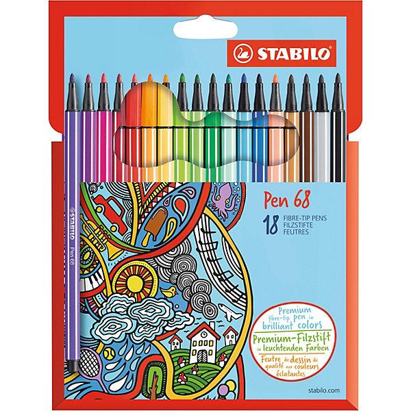 Фломастеры Stabilo Pen, 18 цветовФломастеры<br>Характеристики:<br><br>• возраст: от 5 лет<br>• в наборе: 18 фломастеров<br>• количество цветов: 18<br>• толщина линии: 1 мм.<br>• чернила на водной основе<br>• материал корпуса: полипропилен<br>• упаковка: картонная коробка<br>• размер упаковки: 21х16х1,5 см.<br>• гарантированный минимальный срок хранения: 3 года<br>• стран изготовитель: Германия<br><br>Износостойкий, очень прочный наконечник устойчив к любой силе нажима, сохраняет свою форму и равномерно наносит чернила. Чернила на водной основе не имеют запаха. Богатая гамма ярких насыщенных цветов с самой высокой светостойкостью дает простор для творчества и придает сочность рисункам. Фломастеры не выцветают со временем, не высыхают без колпачка 24 часа.