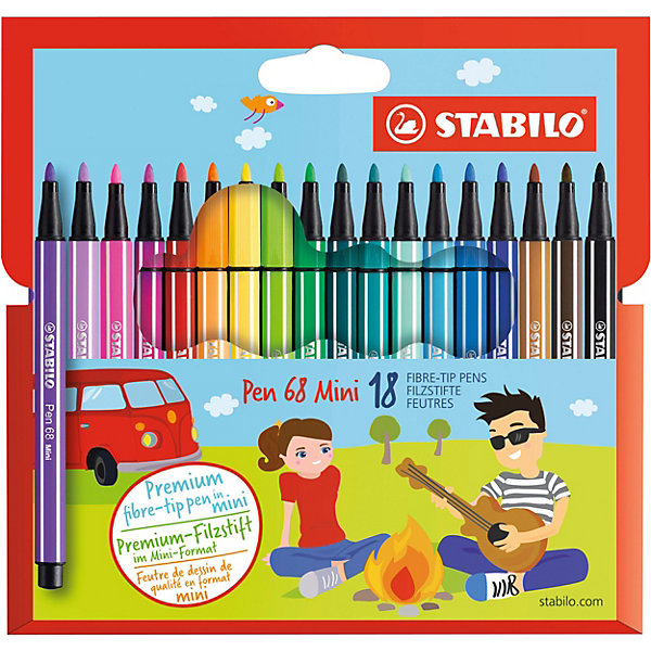 STABILO Фломастеры Stabilo Pen mini, 18 цветов
