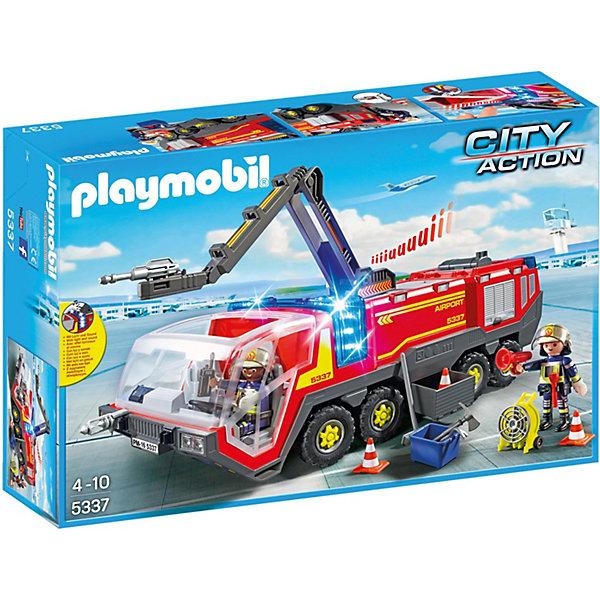Конструктор Playmobil Городской Аэропорт Пожарная машина со светом и звукомПластмассовые конструкторы<br>Характеристики товара:<br><br>• возраст: от 4 лет;<br>• материал: пластик;<br>• в комплекте: 2 фигурки, машина, аксессуары;<br>• тип батареек: 3 батарейки ААА;<br>• наличие батареек: в комплект не входят;<br>• высота фигурки: 7,5 см;<br>• размер упаковки: 51,5х34,8х12,4 см;<br>• вес упаковки: 1,605 кг;<br>• страна бренда: Германия.<br><br>Игровой набор «Городской аэропорт: Пожарная машина со светом и звуком» Playmobil включает в себя фигурки пожарных и их машину для тушения пожаров. Машина оснащена водяным насосом, крюковыми муфтами, выдвижными ящиками, полкой для хранения оборудования, лестницей, рукавом для тушения огня. В кабину транспортного средства можно посадить фигурки пожарных. У машины загораются мигалки, и слышны характерные звуки сирены.<br><br>Игровой набор «Городской аэропорт: Пожарная машина со светом и звуком» Playmobil можно приобрести в нашем интернет-магазине.<br>Ширина мм: 515; Глубина мм: 350; Высота мм: 126; Вес г: 1424; Возраст от месяцев: 48; Возраст до месяцев: 120; Пол: Унисекс; Возраст: Детский; SKU: 4546143;