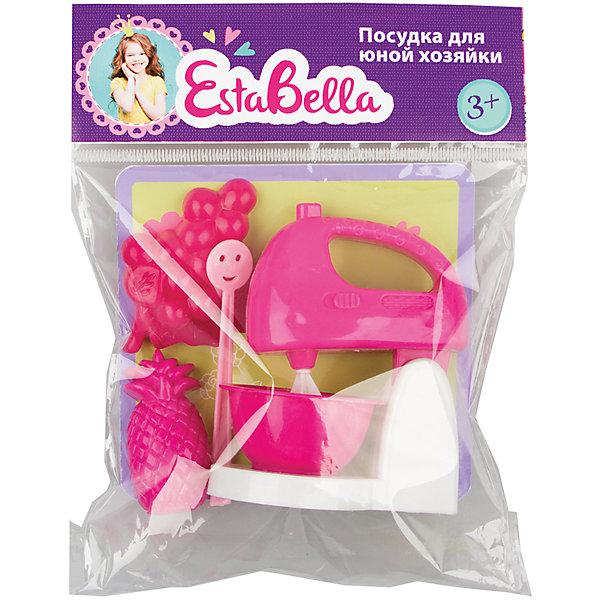 Набор посудки Все самое нужное, EstaBellaДетские кухни<br>Набор посудки Все самое нужное, EstaBella (Эстабелла) – непременно понравится вашей юной хозяйке.<br>Набор посудки Все самое нужное подарит вашей девочке увлекательный мир ролевой игры, фантазии и воображения. Играя с ним, она будет готовиться к взрослой жизни и станет более самостоятельной, уверенной и активной. Набор прекрасно подойдет для сюжетно-ролевых игр и станет прекрасным дополнением к любой кукольной кухне. Изготовлен из высококачественной и безопасной пластмассы.<br><br>Дополнительная информация:<br><br>- В наборе: блендер, муляжи ананаса и винограда<br>- Материал: пластмасса<br>- Размер упаковки: 12х3х12 см.<br><br>Набор посудки Все самое нужное, EstaBella (Эстабелла) можно купить в нашем интернет-магазине.<br>Ширина мм: 120; Глубина мм: 30; Высота мм: 120; Вес г: 270; Возраст от месяцев: 36; Возраст до месяцев: 72; Пол: Женский; Возраст: Детский; SKU: 4552917;
