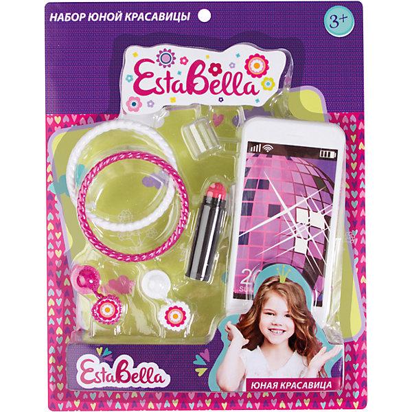 Набор юной красавицы, EstaBellaСалон красоты<br>Набор юной красавицы, EstaBella (Эстабелла) – это красочный набор для увлекательных сюжетно-ролевых игр.<br>Набор юной красавицы от торговой марки EstaBella (Эстабелла) вызовет восторг у вашей малышки. Набор включает в себя смартфон, помаду и аксессуары, с помощью которых ваша девочка сможет создавать модные образы. Набор прекрасно подойдет для сюжетно-ролевых игр. Изготовлен из высококачественной и безопасной пластмассы.<br><br>Дополнительная информация:<br><br>- В наборе: смартфон, помада, аксессуары<br>- Материал: пластмасса<br>- Размер упаковки: 28,5х7х22,5 см.<br><br>Набор юной красавицы, EstaBella (Эстабелла) можно купить в нашем интернет-магазине.<br>Ширина мм: 285; Глубина мм: 70; Высота мм: 225; Вес г: 208; Возраст от месяцев: 36; Возраст до месяцев: 72; Пол: Женский; Возраст: Детский; SKU: 4552918;