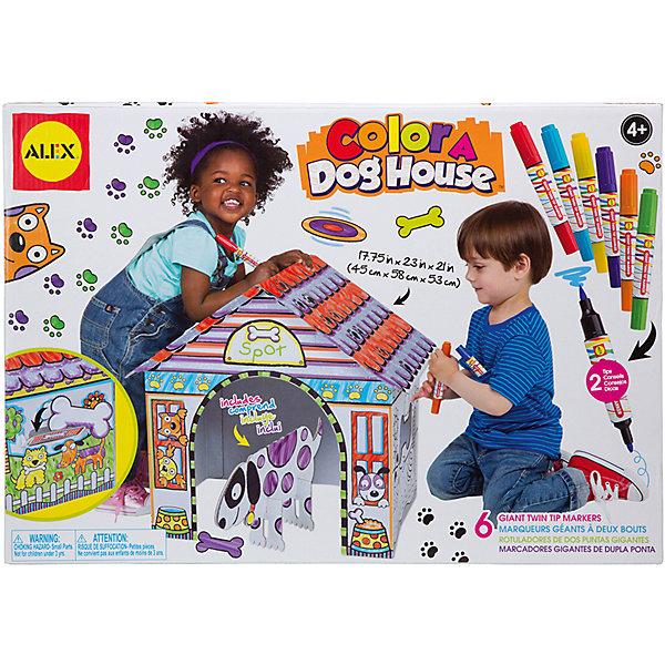 Раскрась домик для собачки, ALEXКартонные домики-раскраски<br>Раскрась домик для собачки, ALEX (АЛЕКС) - это прекрасный набор для творческого развития Вашего ребенка.<br>Превосходный набор позволит вашему малышу почувствовать себя настоящим творцом домика для любимого домашнего животного. Ну а если настоящего питомца у крохи нет, то поможет создать собачку из картона. В набор входят детали для сборки домика из беленого гофрокартона. Домик легко собирается без ножниц и клея. Конструкция домика устойчивая, детали соединяются между собой крепко, что не позволяет ему разваливаться. Домик оформлен контурами рисунков, как в раскраске, которые малышу предстоит декорировать по собственному усмотрению. Стирающиеся маркеры для раскрашивания, входящие в комплект, имеют две стороны, с одной грифель толстый с другой тонкий. Набор поможет малышу развить фантазию и образное мышление, и мелкую моторику.<br><br>Дополнительная информация:<br><br>- В наборе: картонные заготовки домика для собаки, собака картонная, косточка картонная, двусторонние стирающиеся маркеры д 6 шт., инструкция по сборке<br>- Размер домика в сборном виде: 45х58х53 см.<br>- Материал: картон<br>- Упаковка: картонная коробка<br>- Размеры упаковки: 52х3,2х36,8 см.<br>- Вес: 1260 гр.<br><br>Набор Раскрась домик для собачки, ALEX (АЛЕКС) можно купить в нашем интернет-магазине.<br>Ширина мм: 520; Глубина мм: 32; Высота мм: 368; Вес г: 1260; Возраст от месяцев: 48; Возраст до месяцев: 120; Пол: Унисекс; Возраст: Детский; SKU: 4556949;