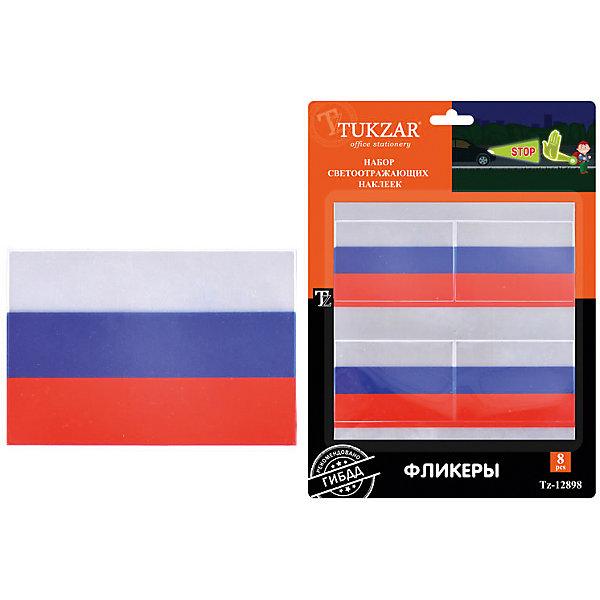 TUKZAR Набор светоотражающих наклеек Флаг России 8 шт., TUKZAR набор для плетения tukzar an 66 от 8 лет 180 шт