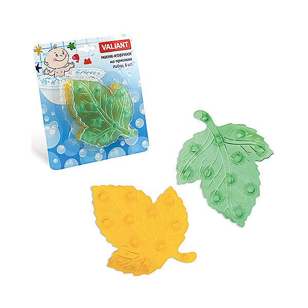 Мини-коврики для ванной Листики, 6 шт (желтый и зеленый)Товары для купания<br>Мини-коврики для ванной комнаты - это яркое дополнение к купанию малыша. Это и игра и развитие моторики и изучение зверушек. <br>Колоссальный и постоянно растущий спрос на них обусловлен реакцией малышей и их мам на данное изобретение по всему миру.<br>Мини-коврики снабжены присосками и превосходно клеятся на влажный кафель.<br>Ширина мм: 110; Глубина мм: 140; Высота мм: 50; Вес г: 116; Возраст от месяцев: -2147483648; Возраст до месяцев: 2147483647; Пол: Унисекс; Возраст: Детский; SKU: 4563308;