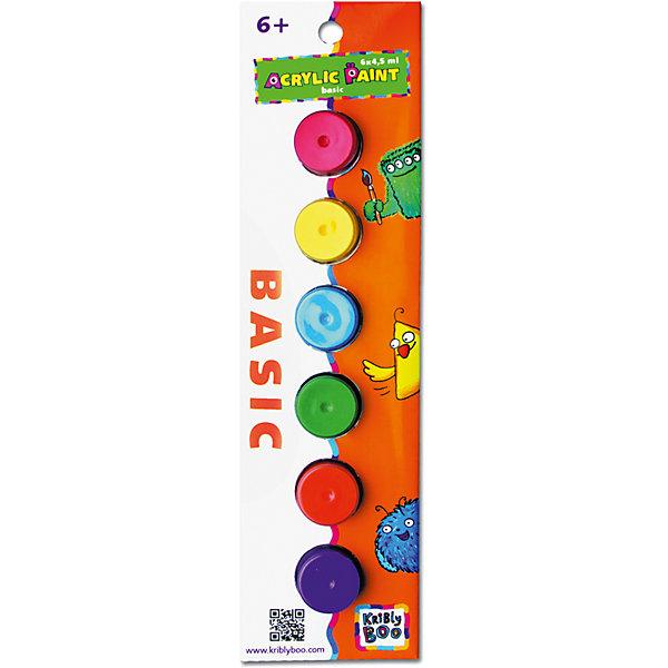 Набор акриловых красок с кисточкой, 6 цветовКраски и кисточки<br>Характеристики товара:<br><br>• цвет: разноцветный<br>• размер упаковки: 23x7x2 см<br>• вес: 70 г<br>• комплектация: 6 цветов, кисть<br>• объем 1 цвета: 4,5 мл<br>• возраст: от трех лет<br>• упаковка: картонная коробка<br>• страна бренда: Финляндия<br>• страна изготовитель: Китай<br><br>Творчество - это увлекательно и полезно! Такой набор станет отличным подарком ребенку - ведь с помощью акриловых красок рисовать удобно и весело! В набор входят шесть базовых цветов и кисть. Рисовать ими можно как на бумаге, так и на других поверхностях. Акриловые краски подходят для раскрашивания скульптур.<br>Детям очень нравится что-то делать своими руками! Кроме того, творчество помогает детям развивать важные навыки и способности, оно активизирует мышление, формирует усидчивость, творческие способности, мелкую моторику и воображение. Изделие производится из качественных и проверенных материалов, которые безопасны для детей.<br><br>Набор акриловых красок с кисточкой 6х 4,5 мл от бренда KriBly Boo можно купить в нашем интернет-магазине.<br>Ширина мм: 240; Глубина мм: 70; Высота мм: 30; Вес г: 67; Возраст от месяцев: 36; Возраст до месяцев: 2147483647; Пол: Унисекс; Возраст: Детский; SKU: 4563997;