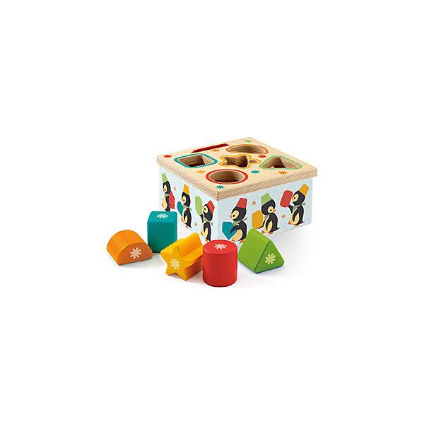 Сортер Пингвин, DJECOРазвивающие игрушки<br>Сортер Пингвин, Djeco (Джеко) - красочная развивающая игрушка, которая станет одной из любимых у Вашего малыша. Сортер выполнен в виде яркой коробочки, украшенной изображениями симпатичных пингвинчиков. Также в комплект входят разноцветные геометрические фигуры. В верхней части сортера имеются отверстия различных геометрических форм. Малышу предлагается найти фигуры, соответствующие отверстиям и поместить их в углубления. Все предметы изготовлены из высококачественного, экологически чистого материала - дерева и покрыты безопасными красками без запаха. Игрушка развивает логическое мышление, усидчивость и мелкую моторику рук, знакомит ребенка с цветами и формами.<br><br>Дополнительная информация:<br><br>- В комплекте: сортер, 5 геометрических фигурок.<br>- Материал: дерево.<br>- Размер игрушки: 12 х 6,5 х 2 см.<br>- Размер упаковки: 13 х 13 х 7 см.<br>- Вес: 0,3 кг.<br><br>Сортер Пингвин, Djeco (Джеко), можно купить в нашем магазине.<br>Ширина мм: 130; Глубина мм: 130; Высота мм: 70; Вес г: 330; Возраст от месяцев: 180; Возраст до месяцев: 540; Пол: Унисекс; Возраст: Детский; SKU: 4566299;