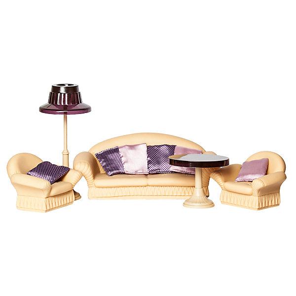 Мебель для куклы Огонёк Коллекция ГостинаяМебель для кукол<br>Характиристики товара:<br><br>• возраст: от 3 лет;<br>• цвет: бежевый, коричневй;<br>• из чего сделана игрушка (состав): пластик;<br>• комплект: 1 диван, 2 кресла, светильник, стол;<br>• длина дивана: 24,5 см.;<br>• ширина дивана: 11,5 см.;<br>• высота дивана: 10 см.;<br>• размер сиденья: 17х7 см.;<br>• размер кресла: 11х10х8 см.;<br>• размер столика: 9,5х9,5х8 см.;<br>• высота торшера: 19,5 см.;<br>• подходит для кукол высотой: 20 см.;<br>• размер коробки: 25x25x10 см.;<br>• вес: 643 гр.;<br>• упаковка: картонная коробка с ручкой.<br><br>Набор мягкой мебели для гостиной «Коллекция» разработан для кукол высотой около 20 см, но его можно использовать и для Барби и аналогичных кукол. <br><br>В комплекте есть все, чтобы обустроить для куклы, ее семьи и гостей уютную гостиную в классическом стиле. Элементы мебели идеально сочетаются между собой. Подойдут они не только для игры, но и для модных, оригинальных кукольных фотосессий.  Все детали выполнены из высококачественного пластика и ПВХ.<br><br>Текстиль (подушки) в комплект не входят, на фото представлены для ознакомления.
