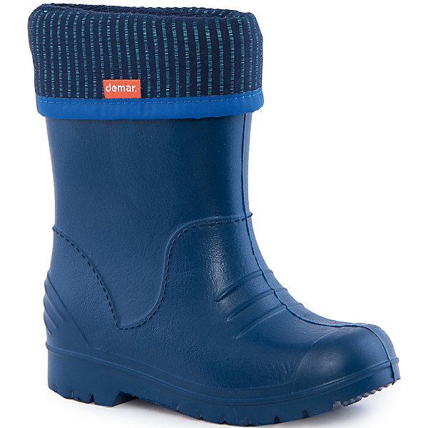 Резиновые сапоги со съемным носком Demar DinoРезиновые<br>Характеристики товара:<br><br>• цвет: синий<br>• материал верха: ЭВА<br>• материал подкладки: текстиль <br>• съемный внутренний сапожок<br>• материал подошвы: ЭВА<br>• температурный режим: от 0° до +15° С<br>• верх не продувается<br>• стильный дизайн<br>• страна бренда: Польша<br>• страна изготовитель: Польша<br><br>Осенью и весной ребенку не обойтись без резиновых сапог со съемным носком! Чтобы не пропустить главные удовольствия межсезонья, нужно запастись удобной обувью. Такие резиновые сапоги со съемным носком обеспечат ребенку необходимый для активного отдыха комфорт, а подкладка из текстиля позволит ножкам оставаться теплыми. Резиновые сапоги со съемным носком легко надеваются и снимаются, отлично сидят на ноге. Они удивительно легкие!<br>Обувь от польского бренда Demar - это качественные товары, созданные с применением новейших технологий и с использованием как натуральных, так и высокотехнологичных материалов. Обувь отличается стильным дизайном и продуманной конструкцией. Изделие производится из качественных и проверенных материалов, которые безопасны для детей.<br><br>Резиновые сапоги со съемным носком от бренда Demar (Демар) можно купить в нашем интернет-магазине.