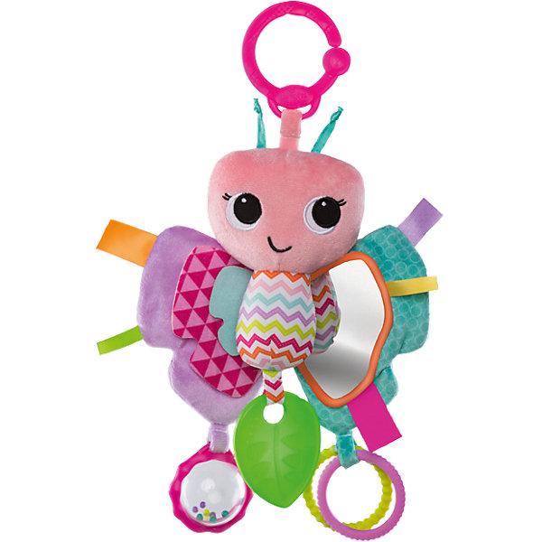 Развивающая игрушка Bright Starts БабочкаИгрушки для новорожденных<br>Яркая очаровательная бабочка – интересная игрушка, которую можно брать с собой на прогулку!<br><br>ОСОБЕННОСТИ<br>Развивающие элементы привлекут внимание малышки:<br>Прозрачная погремушка с разноцветными шариками внутри<br>Пластиковые колечки, которыми можно весело стучать<br>Безопасное зеркальце<br>Прорезыватель для зубок, выполненный в виде листочка, успокоит нежные дёсны<br>Удобная система крепления к коляске, автомобильному креслу, переноске<br><br>Дополнительные характеристики<br> Размеры: 25.4 см x 5.1 cм x 22.9 cм<br>Ширина мм: 228; Глубина мм: 167; Высота мм: 68; Вес г: 112; Возраст от месяцев: 0; Возраст до месяцев: 18; Пол: Женский; Возраст: Детский; SKU: 4585934;