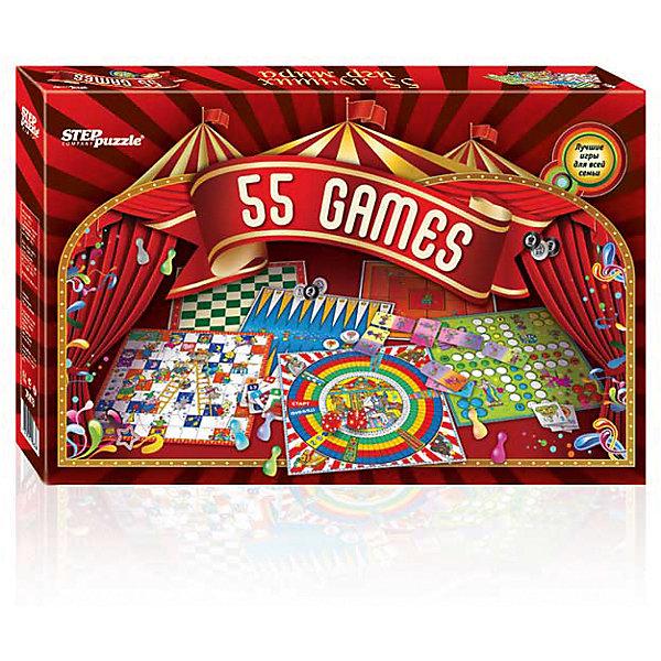 55 лучших игр мира, Step PuzzleИгры мемо<br>55 лучших игр мира, Step Puzzle (Степ Пазл) – это увлекательные настольные игры для всей семьи.<br>Мы собрали в одной коробке 55 лучших игр со всего мира. Здесь Вы найдете: мемо и карточные игры, шахматы и шашки, нарды, различные игры-бродилки и игры с кубиками. Все игры входящие в комплект очень разнообразны. Будут интересны как детям, так и их родителям.<br><br>Дополнительная информация:<br><br>- В комплекте: игровые поля (двусторонние) 3 шт., шашки 32 шт., наклейки на шашки (шахматы) 32 шт., кубики 2 шт., фишки четырех цветов по 8 шт. каждого цвета, карточки домино 28 шт., парные карточки 30 шт., книга с правилами<br>- Материал: пластик, картон<br>- Упаковка: картонная коробка<br>- Размер упаковки: 380x45x240 мм.<br>- Вес: 932 гр.<br><br>Набор «55 лучших игр мира», Step Puzzle (Степ Пазл) можно купить в нашем интернет-магазине.<br>Ширина мм: 380; Глубина мм: 45; Высота мм: 240; Вес г: 400; Возраст от месяцев: 36; Возраст до месяцев: 144; Пол: Унисекс; Возраст: Детский; SKU: 4588260;