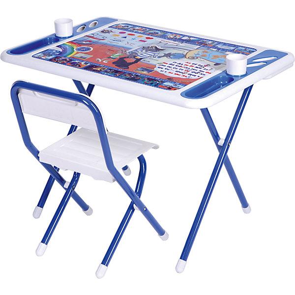 Набор мебели Дэми Ну, погоди! (3-7 лет), бело-синийНу, погоди!<br>Набор мебели Ну, погоди! – это полностью оборудованное место для творчества и занятий вашего малыша.<br>Набор складной детской мебели Ну, погоди! предназначен для детей от 3 до 7 лет. Ее легко развернуть и так же легко убрать. Чтобы свернуть рабочее место, нужно всего лишь сложить ножки стола и стула – и поместить набор вдоль стены, в шкаф или за мебель. Рабочая поверхность стола, сиденье и спинка стула сделаны из прочной пластмассы, имеют закругленные края и защитные бортики. Устойчивые металлические ножки имеют пластмассовые заглушки. Мебель спроектирована при участии врачей-ортопедов, поэтому занятия для ребенка проходят с комфортом. Он держит спину ровно и правильно распределяет нагрузку на позвоночник благодаря слегка отклоненной спинке стула. Расстояние от глаз до учебных материалов на столе также является оптимальным. На столешнице красуются не только главные герои мультфильма «Ну, погоди», но и веселые развивающие шпаргалки! Ребенок изучит алфавит и цифры, познакомится с геометрическими фигурами и цветами, географической картой, сторонами света, а также узнает новые слова на морскую тематику. По краям столешницы расположены органайзеры для канцелярских принадлежностей, а также пазы-держатели для стаканчиков. Два стаканчика для рисования также в комплекте. Набор мебели обеспечит вашему ребенку занятия учебой и творчеством в наиболее удобной обстановке.<br><br>Дополнительная информация:<br><br>- В комплекте: стол, стул, 2 стаканчика, руководство по эксплуатации<br>- Комплект предназначен для детей ростом 130-145 см.<br>- Максимальная нагрузка на стул: 30 кг.<br>- Материал: пластик, металл<br>- Цвет: белый, синий<br>- Размер столешницы: 800х550 мм.<br>- Высота стола от пола: 580 мм.<br>- Размер сиденья стула: 340х360 мм.<br>- Высота сиденья от пола: 345 мм.<br>- Размер органайзера: 200х55 мм.<br>- Упаковка: картонная коробка<br>- Размер упаковки: 800х740х150 мм.<br>- Вес в упаковке: 10,4 кг.<br><