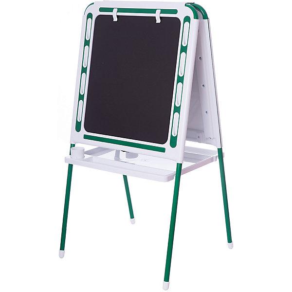 Зеленый мольбертДетские мольберты<br>Зеленый мольберт – это мольберт с двумя рабочими поверхностями, предназначенный для детского творчества и развития.<br>Современный, функциональный и очень удобный мольберт - это универсальный уголок для рисования и обучения у вас дома. Двойная доска устанавливается «домиком» прямо на пол и не требует дополнительных креплений. На металлических ножках – пластмассовые заглушки. Мольберт спроектирован особым образом: он может  использоваться двумя детьми одновременно. С обеих сторон мольберта есть удобные зажимы для бумаги. В комплект входят два стаканчика для рисования, большая полка для альбомов и красок. Мольберт подходит для работы красками, мелом, карандашами и маркерами. Юный художник по достоинству оценит удобные пазы-подставки для канцелярских принадлежностей, расположенные прямо на рамке мольберта, слева и справа от его рабочей поверхности. Углы мольберта скруглены для снижения травматичности ребенка.<br><br>Дополнительная информация:<br><br>- В комплекте: мольберт, два стаканчика для рисования, полка<br>- Цвет: белый, зеленый<br>- Материал: пластик, металл<br>- Размер: 100,5х48 см.<br>- Размер упаковки: 112х55х70 см.<br>- Вес: 14,2 кг.<br><br>Зеленый мольберт можно купить в нашем интернет-магазине.<br>Ширина мм: 1220; Глубина мм: 650; Высота мм: 110; Вес г: 14200; Возраст от месяцев: -2147483648; Возраст до месяцев: 2147483647; Пол: Унисекс; Возраст: Детский; SKU: 4589685;