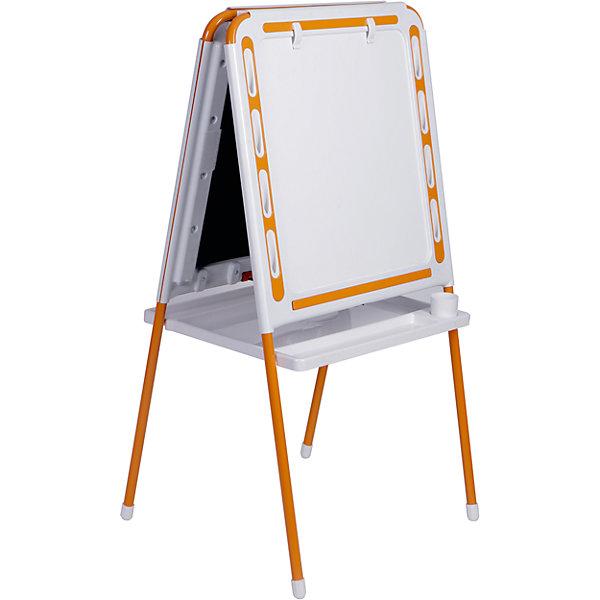 Оранжевый мольбертДетские мольберты<br>Оранжевый мольберт – это мольберт с двумя рабочими поверхностями, предназначенный для детского творчества и развития.<br>Современный, функциональный и очень удобный мольберт - это универсальный уголок для рисования и обучения у вас дома. Двойная доска устанавливается «домиком» прямо на пол и не требует дополнительных креплений. На металлических ножках – пластмассовые заглушки. Мольберт спроектирован особым образом: он может  использоваться двумя детьми одновременно. С обеих сторон мольберта есть удобные зажимы для бумаги. В комплект входят два стаканчика для рисования, большая полка для альбомов и красок. Мольберт подходит для работы красками, мелом, карандашами и маркерами. Юный художник по достоинству оценит удобные пазы-подставки для канцелярских принадлежностей, расположенные прямо на рамке мольберта, слева и справа от его рабочей поверхности. Углы мольберта скруглены для снижения травматичности ребенка.<br><br>Дополнительная информация:<br><br>- В комплекте: мольберт, два стаканчика для рисования, полка<br>- Цвет: белый, оранжевый<br>- Материал: пластик, металл<br>- Размер: 100,5х48 см.<br>- Размер упаковки: 112х55х70 см.<br>- Вес: 14,2 кг.<br><br>Оранжевый мольберт можно купить в нашем интернет-магазине.