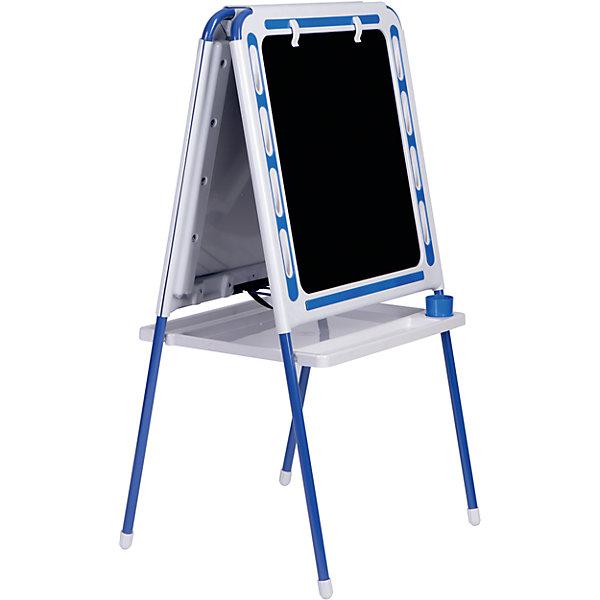 Синий мольбертДетские мольберты<br>Синий мольберт – это мольберт с двумя рабочими поверхностями, предназначенный для детского творчества и развития.<br>Современный, функциональный и очень удобный мольберт - это универсальный уголок для рисования и обучения у вас дома. Двойная доска устанавливается «домиком» прямо на пол и не требует дополнительных креплений. На металлических ножках – пластмассовые заглушки. Мольберт спроектирован особым образом: он может  использоваться двумя детьми одновременно. С обеих сторон мольберта есть удобные зажимы для бумаги. В комплект входят два стаканчика для рисования, большая полка для альбомов и красок. Мольберт подходит для работы красками, мелом, карандашами и маркерами. Юный художник по достоинству оценит удобные пазы-подставки для канцелярских принадлежностей, расположенные прямо на рамке мольберта, слева и справа от его рабочей поверхности. Углы мольберта скруглены для снижения травматичности ребенка.<br><br>Дополнительная информация:<br><br>- В комплекте: мольберт, два стаканчика для рисования, полка<br>- Цвет: белый, синий<br>- Материал: пластик, металл<br>- Размер: 100,5х48 см.<br>- Размер упаковки: 112х55х70 см.<br>- Вес: 14,2 кг.<br><br>Синий мольберт можно купить в нашем интернет-магазине.<br>Ширина мм: 1220; Глубина мм: 650; Высота мм: 110; Вес г: 14200; Возраст от месяцев: -2147483648; Возраст до месяцев: 2147483647; Пол: Унисекс; Возраст: Детский; SKU: 4589688;