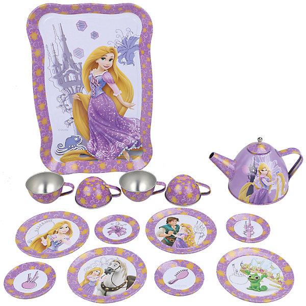 Набор чайной посуды Рапунцель (15 предм., металл.), Принцессы ДиснейИгрушки<br>Характеристики товара:<br><br>• возраст: от 3 лет;<br>• размер упаковки: 32х19х9 см.;<br>• количество предметов: 15;<br>• состав: металл;<br>• упаковка: картонная коробка блистерного типа;<br>• вес в упаковке: 460 гр.;<br>• бренд: Disney;<br>• страна-производитель: Китай.<br><br>Игровой набор чайной посуды «Рапунцель» из серии «Принцессы Дисней» станет отличным подарком для вашего ребенка и прекрасным дополнением к сюжетно-ролевым играм.<br><br>Главной особенностью набора является фирменное и красочное оформление, выполненное совместно с компанией Disney. При этом, все чашки и блюдца имеют разные иллюстрации. На них изображены как главные герои, так и дополнительные персонажи из любимого мультфильма. Каждый элемент тщательно проработан и детализирован – от упаковки до самого маленького блюдца.<br><br>В комплекте: 1 поднос, 8 блюдец разного размера, 4 чашки, 1 чайник с крышкой. Материал посуды – прочный, лёгкий металл, который не разобьётся во время игры. Набор упакован в яркую упаковку с изображением героев Disney. <br><br>Игровой набор чайной посуды «Рапунцель», 15 предметов от Disney<br>можно купить в нашем интернет-магазине.<br>Ширина мм: 320; Глубина мм: 195; Высота мм: 95; Вес г: 480; Возраст от месяцев: 36; Возраст до месяцев: 72; Пол: Женский; Возраст: Детский; SKU: 4590228;