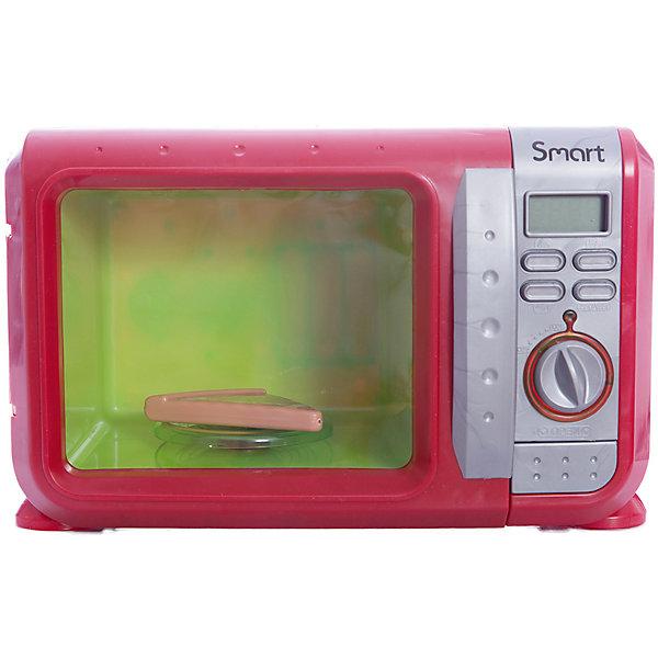 Микроволновая печь Smart, HTIИгрушечная бытовая техника<br>Эта замечательная яркая микроволновая печь выглядит как настоящая. Теперь ваша юная хозяйка без труда сможет разогреть обед для своих любимых кукол! Микроволновка снабжена четырьмя кнопками для приготовления блюд, поворачивающейся ручкой, а также большой кнопкой для открывания дверцы. Внутри находится круглая подставка для еды. При нажатии на кнопки или поворачивании ручки в печи включится голубой свет, подставка начнет вращаться, при этом будут слышны характерные звуки работы печи. Игрушка выполнена из высококачественных нетоксичных материалов безопасных для детей. Прекрасный подарок для юных поварят! <br><br>Дополнительная информация:<br><br>- Материал: пластик, металл.<br>- Размер: 27,5х18х15,5 см.<br>- Звуковые, световые эффекты.<br>- Кусочек пиццы в комплекте.<br>- Подставка вращается.<br>- После завершения работы слышится звуковой сигнал. <br>- Элемент питания: 3 АА батарейки (не входят в комплект).<br><br>Микроволновую печь Smart, HTI, можно купить в нашем магазине.<br>Ширина мм: 275; Глубина мм: 150; Высота мм: 175; Вес г: 1000; Возраст от месяцев: 36; Возраст до месяцев: 168; Пол: Женский; Возраст: Детский; SKU: 4600417;