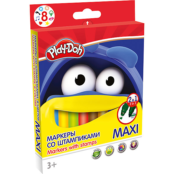 Darpeje Фломастеры Darpeje Play-Doh Maxi, 8 цветов санкт петербург центр города карта города масштаб 1 20 000 в 1см 200м