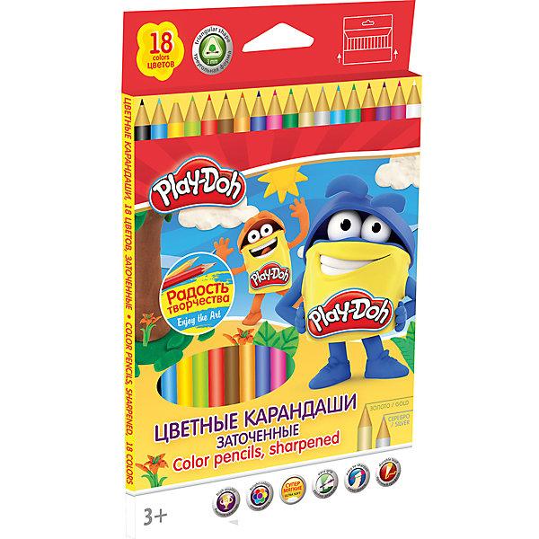 Академия групп Цветные карандаши 18 цветов, Play-Doh академия групп бумага и картон цветные 20 листов 10 цветов monster high