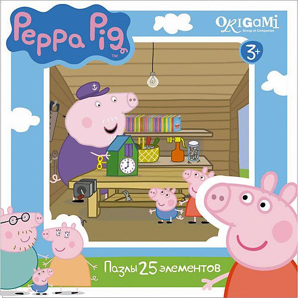 Пазл Свинка Пеппа, 25 деталей, OrigamiПазлы для малышей<br>Пазл Свинка Пеппа, Origami - увлекательный набор для творчества, который заинтересует Вашего малыша и подарит ему отличное настроение. Из деталей пазла он сможет собрать красочную картинку с веселым сюжетом из популярного мультсериала Свинка Пеппа (Peppa Pig): Пеппа и ее братик Джордж в мастерской дедушки Свина. Пазл отличается высоким качеством полиграфии и насыщенными цветами. Благодаря ламинированному покрытию, картинка надолго сохраняет свой блеск и яркие цвета. Плотный картон не дает деталям мяться и обеспечивает надежное соединение. Собирание пазла способствует развитию логического и пространственного мышления, внимания, мелкой моторики и координации движений.<br><br>Дополнительная информация:<br><br>- Материал: картон. <br>- Количество деталей: 25.<br>- Размер собранной картинки: 21 х 21 см.<br>- Размер упаковки: 15 х 15 х 4 см.<br>- Вес: 130 гр.<br> <br>Пазл Свинка Пеппа, 25 деталей, Origami, можно купить в нашем интернет-магазине.<br>Ширина мм: 150; Глубина мм: 45; Высота мм: 150; Вес г: 130; Возраст от месяцев: 36; Возраст до месяцев: 96; Пол: Унисекс; Возраст: Детский; SKU: 4614928;