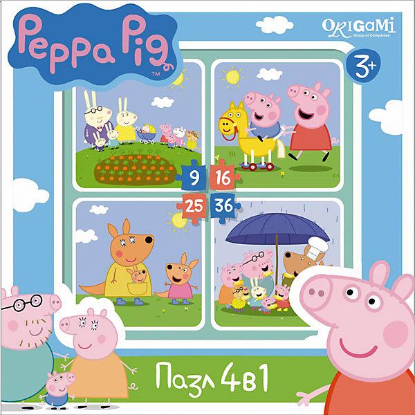 Набор из 4-х пазлов На отдыхе, 9*16*25*36 деталей, Свинка Пеппа, OrigamiПазлы для малышей<br>Набор из 4-х пазлов На отдыхе, Свинка Пеппа, Origami - увлекательный набор для творчества, который заинтересует Вашего малыша и подарит ему отличное настроение. Из деталей пазла он сможет собрать четыре красочные картинки с веселыми сюжетами из популярного мультсериала Peppa Pig: персонажи мультфильма на прогулке. Картинки отличаются количеством входящих в них деталей и уровнем сложности. Начинайте сборку с пазла на 9 элементов, постепенно усложняя задачу до 25 элементов. Набор обладает высоким качеством полиграфии и насыщенными цветами. Благодаря ламинированному покрытию картинки надолго сохраняют свой блеск и яркие цвета. Плотный картон не дает деталям мяться и обеспечивает надежное соединение. Собирание пазла способствует развитию логического и пространственного мышления, внимания, мелкой моторики и координации движений.<br><br>Дополнительная информация:<br><br>- Материал: картон. <br>- Количество деталей: 9, 16, 25, 36.<br>- Размер собранной картинки: 15 х 15 см.<br>- Размер упаковки: 18 x 18 x 5 см.<br>- Вес: 160 гр.<br> <br>Набор из 4-х пазлов На отдыхе, 9*16*25*36 деталей, Свинка Пеппа, Origami, можно купить в нашем интернет-магазине.<br>Ширина мм: 180; Глубина мм: 50; Высота мм: 180; Вес г: 160; Возраст от месяцев: 36; Возраст до месяцев: 96; Пол: Унисекс; Возраст: Детский; SKU: 4614940;
