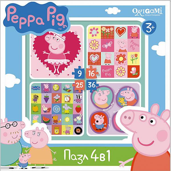 Набор из 4-х пазлов Герои и предметы, 9*16*25*36 деталей, Свинка ПеппаПазлы для малышей<br>Набор из 4-х пазлов Герои и предметы, Свинка Пеппа, Origami - увлекательный набор для творчества, который заинтересует Вашего малыша и подарит ему отличное настроение. Из деталей пазла он сможет собрать четыре красочные картинки с изображениями любимых персонажей<br>из популярного мультсериала Peppa Pig, а также различных предметов. Картинки отличаются количеством входящих в них деталей и уровнем сложности. Начинайте сборку с пазла на 9 элементов, постепенно усложняя задачу до 25 элементов. Набор обладает высоким качеством полиграфии и насыщенными цветами. Благодаря ламинированному покрытию картинки надолго сохраняют свой блеск и яркие цвета. Плотный картон не дает деталям мяться и обеспечивает надежное соединение. Собирание пазла способствует развитию логического и пространственного мышления, внимания, мелкой моторики и координации движений.<br><br>Дополнительная информация:<br><br>- Материал: картон. <br>- Количество деталей: 9, 16, 25, 36.<br>- Размер собранной картинки: 15 х 15 см.<br>- Размер упаковки: 18 x 18 x 5 см.<br>- Вес: 160 гр.<br> <br>Набор из 4-х пазлов Герои и предметы, 9*16*25*36 деталей, Свинка Пеппа, Origami, можно купить в нашем интернет-магазине.<br>Ширина мм: 180; Глубина мм: 50; Высота мм: 180; Вес г: 160; Возраст от месяцев: 36; Возраст до месяцев: 96; Пол: Унисекс; Возраст: Детский; SKU: 4614941;