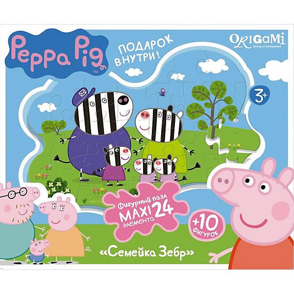 Пазл Семья зебр + магниты + подставки, 24 MAXI детали, Свинка ПеппаПазлы для малышей<br>Пазл Семья зебр, Свинка Пеппа - увлекательный и развивающий набор для творчества, который непременно заинтересует Вашего малыша. Из деталей пазла он сможет собрать красочную фигурную картинку с изображением забавной семьи зебры Хлои из популярного мультсериала Peppa Pig. Собранную картинку можно поместить на подставку, превратив ее в декорацию для игры с картонными фигурками персонажей (входят в комплект). А с помощью магнитов изображение или фигурки можно прикрепить к холодильнику. Пазл отличается высоким качеством полиграфии и насыщенными цветами. Благодаря ламинированному покрытию картинка надолго сохраняет свой блеск и яркие цвета. Плотный картон не дает деталям мяться и обеспечивает надежное соединение. Собирание пазла способствует развитию логического и пространственного мышления, внимания, мелкой моторики и координации движений.<br><br>Дополнительная информация:<br><br>- В комплекте: контурный пазл (24 детали), 10 фигурок, магниты, подставка.<br>- Материал: картон, бумага. <br>- Размер упаковки: 28 x 6 x 23 см.<br>- Вес: 0,424 кг.<br> <br>Пазл Семья зебр + магниты + подставки, 24 MAXI детали, Свинка Пеппа, Origami, можно купить в нашем интернет-магазине.<br>Ширина мм: 280; Глубина мм: 60; Высота мм: 230; Вес г: 100; Возраст от месяцев: 36; Возраст до месяцев: 96; Пол: Унисекс; Возраст: Детский; SKU: 4614943;