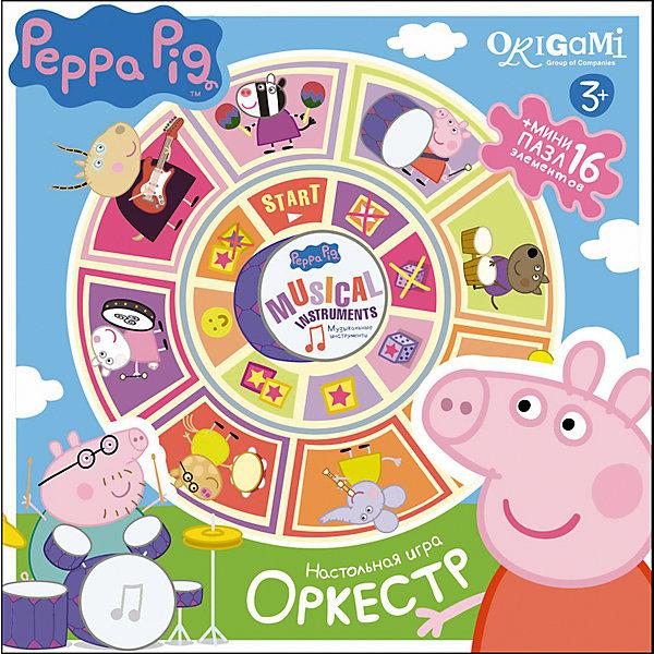 Карусель-лото Оркестр + пазл 16 деталей, Свинка Пеппа, OrigamiЛото<br>Карусель-лото Оркестр + пазл, Свинка Пеппа - увлекательный игровой набор, который объединяет сразу два веселых развлечения - настольную игру и пазл. Игрокам предстоит собрать картинку с музыкальной тематикой из четырех частей, но главное - сделать это быстрее остальных. В игре могут участвовать от 2 до 4 игроков. Они по очереди кидают кубик, передвигают свои фишки по игровому полю и выполняют действия значка, на котором остановилась фишка. Все детали выполнены из плотного качественного картона, благодаря ламинированному покрытию красочные изображения надолго сохраняют свой блеск и яркие цвета. Игра помогает усвоить понятия целого и части, развивает логическое мышление, внимание и мелкую моторику.<br><br>Дополнительная информация:<br><br>- В комплекте: поле-пазл, сборные картинки, пазл из 16 элементов, 4 фишки, кубик, инструкция.<br>- Материал: картон, бумага, пластик. <br>- Размер пазла: 32,5 х 32,5 см.<br>- Размер упаковки: 22 x 6 x 22 см.<br>- Вес: 0,424 кг.<br> <br>Карусель-лото Оркестр + пазл 16 деталей, Свинка Пеппа, Origami, можно купить в нашем интернет-магазине.<br>Ширина мм: 215; Глубина мм: 60; Высота мм: 215; Вес г: 320; Возраст от месяцев: 36; Возраст до месяцев: 96; Пол: Унисекс; Возраст: Детский; SKU: 4614945;