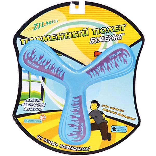 Бумеранг Пламенный полёт, мягкий, ZilmerИгры на ловкость<br>Бумеранг Пламенный полёт, Zilmer - прекрасный способ весело и активно провести время на природе. Бумеранг выполнен из мягкого, безопасного для детей материала EVA. Особая аэродинамическая форма повышает дальность броска и способствует быстрому возвращению к месту запуска, радиус разворота - 1-3 м. Игрушка развивает ловкость и координации движений, меткость и мелкую моторику.<br><br>Дополнительная информация:<br><br>- Материал: поролон EVA. <br>- Размер упаковки: 25 х 21 х 1 см.<br>- Вес: 46 гр.<br> <br>Бумеранг Пламенный полёт, мягкий, Zilmer, можно купить в нашем интернет-магазине.
