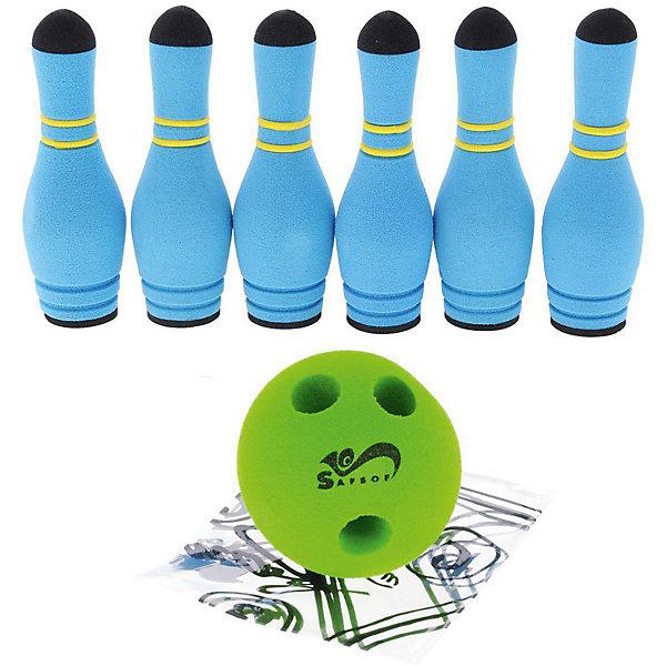 Игровой набор Safsof Мини-боулинг, 6 кеглей в сумкеКольцебросы и боулинг<br>Характеристики:<br><br>• возраст: от 3 лет<br>• в наборе: 6 кеглей, мяч с отверстиями для пальцев<br>• высота кеглей: 17 см.<br>• диаметр кеглей: 5,5 см.<br>• диаметр мяча: 9,5 см.<br>• материал: вспененная резина<br>• упаковка: сумка<br>• размер упаковки: 9,5х19х23 см.<br>• вес: 470 гр.<br>• производитель: SafSof. Тайланд<br><br>Игра мини-боулинг отличный вариант для подвижных активных игр на открытом воздухе или в помещении.<br><br>Цель игры сбить шаром максимальное количество кеглей и набрать большее количество очков. Число игроков и количество туров - произвольное. Очки, набранные с каждым броском мяча, равны количеству сбитых кегель. Расстояние, с которого совершается бросок, определяется игроками.<br><br>Игра развивает ловкость, меткость и координацию движений, а также помогает в укреплении общефизического состояния.<br><br>Набор изготовлен из безопасного, экологически чистого, легкого и мягкого материала - вспененной резины. За счет его легкости и мягкости, в мини-боулинг можно играть в помещении, не боясь, что мяч или кегли повредят мебель и стекло.<br><br>Набор упакован в прозрачную сумку на молнии, в которой его удобно хранить и переносить.<br><br>Игру Мини-боулинг 6 кеглей в сумке можно купить в нашем интернет-магазине.<br>Ширина мм: 190; Глубина мм: 230; Высота мм: 95; Вес г: 440; Возраст от месяцев: 36; Возраст до месяцев: 144; Пол: Унисекс; Возраст: Детский; SKU: 4627944;
