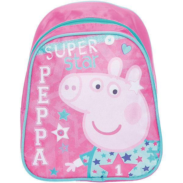 Дошкольный рюкзак Свинка ПеппаСвинка Пеппа<br>Очаровательный дошкольный рюкзачок «Свинка Пеппа» – это невероятно привлекательный аксессуар для вашей малышки. В его внутреннем отделении на молнии легко поместятся не только игрушки, но даже тетрадка или книжка. Благодаря регулируемым лямкам, рюкзачок подходит детям любого роста. Удобная ручка помогает носить аксессуар в руке или размещать на вешалке. Изделие изготовлено из износостойкой, водонепроницаемой ткани, поэтому оно будет служить долгое время, сохраняя положенные в него вещи сухими даже в дождливую погоду. Рюкзачок декорирован привлекательным принтом (сублимированной печатью). Размер: 23х19х8 см.<br>Ширина мм: 255; Глубина мм: 205; Высота мм: 25; Вес г: 163; Возраст от месяцев: 36; Возраст до месяцев: 72; Пол: Женский; Возраст: Детский; SKU: 4635147;