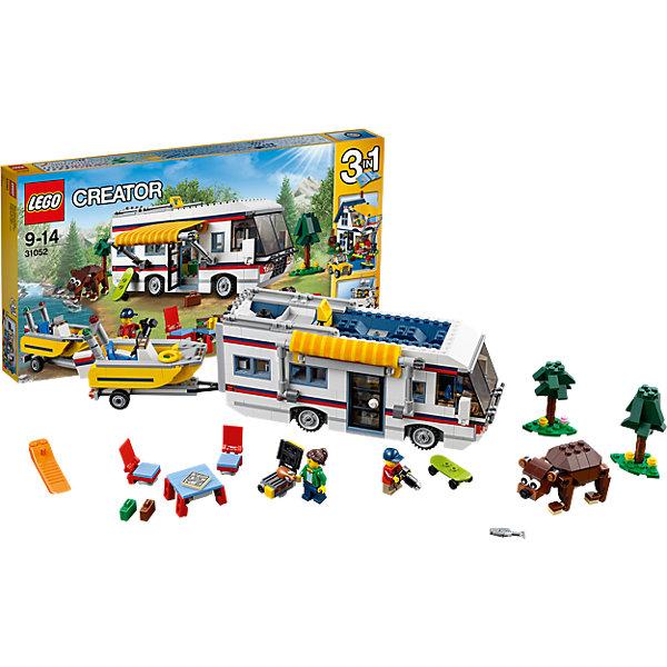 LEGO Creator 31052: КемпингКонструкторы Лего<br>Играть с конструктором обожает множество современных детей, поэтому набор Лего, из которого можно собрать дом на колесах, в котором будет роскошный интерьер с туалетом, складной кроватью, кухней, диваном и телевизором, обязательно обрадует ребенка. Такие игрушки помогают детям развивать воображение, мелкую моторику, логику и творческое мышление.<br>Набор состоит из фигурок людей и деталей, из которых получится дом на колесах. С таким комплектом можно придумать множество игр!<br><br>Дополнительная информация:<br><br>цвет: разноцветный;<br>размер коробки: 54 х 5,9 х 28,2 см;<br>вес: 1363 г;<br>материал: пластик;<br>количество деталей: 792.<br><br>Набор Маяк от бренда LEGO Creator можно купить в нашем магазине.<br>Ширина мм: 541; Глубина мм: 279; Высота мм: 60; Вес г: 1390; Возраст от месяцев: 108; Возраст до месяцев: 168; Пол: Унисекс; Возраст: Детский; SKU: 4641190;