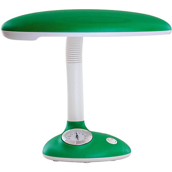 Светильник-часы, 11 Вт, Ultra Light, зеленыйДетские предметы интерьера<br>Зелёный светильник-часы, 11 Вт - светильник прекрасно подойдет для освещения рабочего стола и создания атмосферы уюта в комнате.<br>Симпатичный светильник-часы предназначен для работы и отдыха и станет ярким элементом интерьера детской комнаты. Корпус светильника выполнен из термостойкого пластика. Дуга, соединяющая лампу с основанием, вращается в разные стороны, благодаря чему лампа может осветить любое место в комнате. В основании светильника расположены часы, которые помогут вашему ребенку быстро и легко научиться определять время. Для установки времени необходимо извлечь часы из корпуса основания светильника по направлению вверх, удалить защитную плёнку из-под элемента питания (входит в комплект), установить время, вставить часы в корпус основания светильника. Светильник укомплектован люминесцентной лампой мощностью 11 Вт, сила светового потока которой подобрана оптимально для детского зрения.<br><br>Дополнительная информация: <br><br>- Материал корпуса: термостойкий пластик<br>- Цвет: зеленый<br>- Питание: от сети 220В<br>- Тип цоколя: 2G7<br>- Мощность лампы: 11 Вт<br>- Размер светильника: 22х35х18 см.<br>- Размер упаковки: 28,5х18,5х25 см.<br>- Вес: 1400 гр.<br><br>Зелёный светильник-часы, 11 Вт можно купить в нашем интернет-магазине.<br>Ширина мм: 285; Глубина мм: 185; Высота мм: 250; Вес г: 1400; Возраст от месяцев: 36; Возраст до месяцев: 192; Пол: Унисекс; Возраст: Детский; SKU: 4641462;