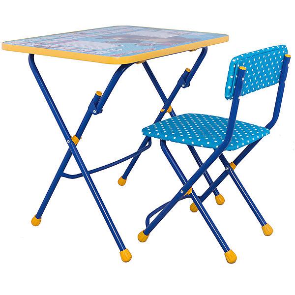 Набор мебели Английская азбука, Маша и МедведьДетские столы и стулья<br>Симпатичный комфортный набор детской мебели Английская азбука, Маша и Медведь, идеально подойдет для занятий, игр и творчества детей 3 -7 лет. В набор входят стол и стул с металлическим каркасом и мягким сиденьем, оформленные по мотивам популярного мультсериала Маша и Медведь. Столешница облицована пленкой, на которой изображены красочные буквы английского алфавита и любимые герои мультфильма. Мебель удобна и безопасна для ребенка, углы стола и стула мягко закруглены. Ножки снабжены наконечниками, предотвращающими скольжение. Стул и стол легко складываются и не занимают много места при хранении.<br><br>Дополнительная информация:<br><br>- В комплекте: складной стол, мягкий складной стул.<br>- Материал: пластик, металл.<br>- Размер стула: высота до сиденья - 32 см., высота со спинкой - 56 см., размер сиденья - 30 х 27 см.<br>- Размер стола: 60 х 45 х 57 см.<br>- Размер упаковки: 61 х 15 х 75 см.<br>- Вес: 8,2 кг.<br><br>Набор детской мебели Английская азбука, Маша и Медведь, Ника, можно купить в нашем интернет-магазине.<br>Ширина мм: 750; Глубина мм: 615; Высота мм: 160; Вес г: 7450; Возраст от месяцев: 36; Возраст до месяцев: 96; Пол: Унисекс; Возраст: Детский; SKU: 4652034;