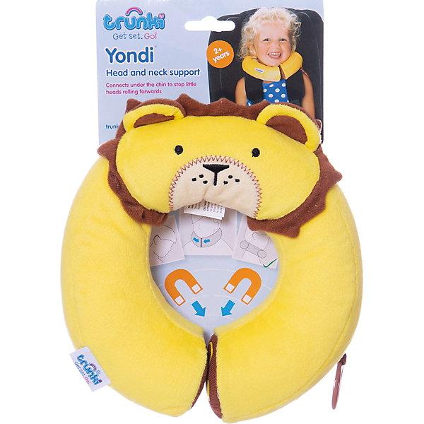 Подголовник Yondi Lion, жёлтыйАксессуары для автокресел<br>Яркий подголовник Yondi Lion поможет сделать путешествие ребенка еще более приятным и комфортным. Подголовник выполнен из мягкого приятного на ощупь материала в виде забавной мордочки львенка с гривой. Специальный наполнитель поддерживает анатомическую форму и облегчает нагрузку на шею и плечевые мышцы малыша. Под подбородком подголовник соединяется скрытыми магнитами, которые позволяют зафиксировать голову ребенка для более комфортного отдыха и сна. С помощью универсального держателя Trunki Grip Вы можете закрепить одеяло или плед, а также повесить солнцезащитные детские очки. Подголовник соответствует международным стандартам безопасности: CE и ASTM. Возможно использование с детскими автокреслами.<br><br>Дополнительная информация:<br><br>- Материал: текстиль. <br>- Внутренний диаметр подголовника: 10 см. (окружность 28 см.).<br>- Внешний диаметр: 20 см.<br>- Размер упаковки: 22 х 20 х 5 см.<br>- Вес: 100 гр.<br><br>Подголовник Yondi Lion, желтый, Trunki, можно купить в нашем интернет-магазине.<br>Ширина мм: 220; Глубина мм: 200; Высота мм: 50; Вес г: 100; Возраст от месяцев: 36; Возраст до месяцев: 60; Пол: Унисекс; Возраст: Детский; SKU: 4660577;