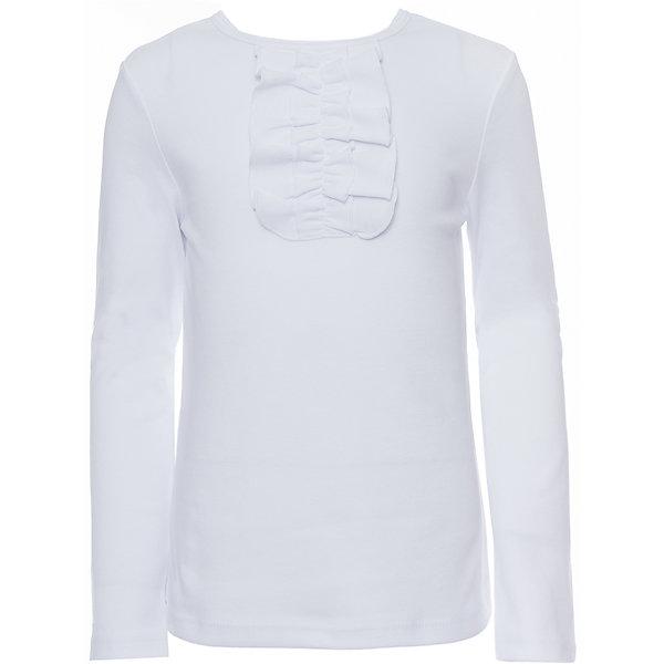 Футболка с длинным рукавом для девочки Белый снегБлузки и рубашки<br>Характеристики товара:<br><br>• состав ткани: 100% хлопок<br>• сезон: демисезон<br>• застёжка: без застёжки<br>• футболка с длинным рукавом<br>• однотонная<br>• стиль: школа<br><br>Блузка для девочки выполнена из трикотажного полотна, ворот украшает жабо. Модель не сковывает движений, а мягкий материал приятен на ощупь.