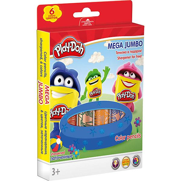 Darpeje Цветные карандаши Darpeje Play-Doh Mega Jumbo, 6 цветов карандаши цветные noris club jumbo 12 цветов трехгранные точилка 128nc12p1