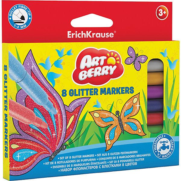 Erich Krause Фломастеры Glitter, 8 цв. erich krause фломастеры artberry glitter easy washable 8 цветов