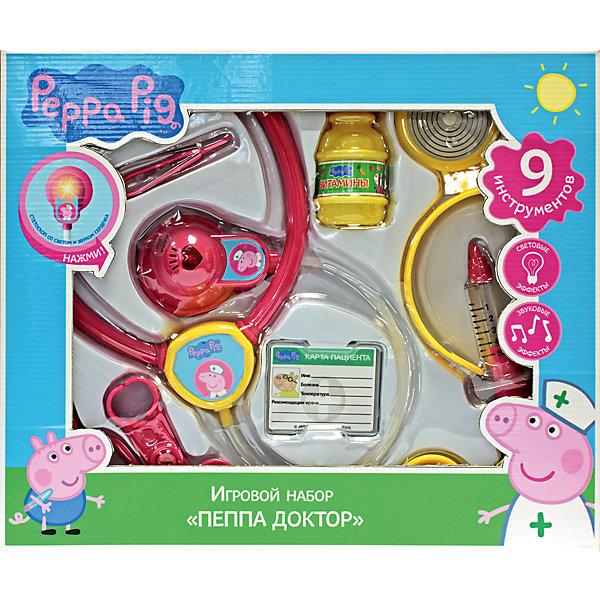 Росмэн Набор «Пеппа-доктор», со светом и звуком ,Свинка Пеппа росмэн мягкая игрушка пеппа с виноградом 20 см свинка пеппа
