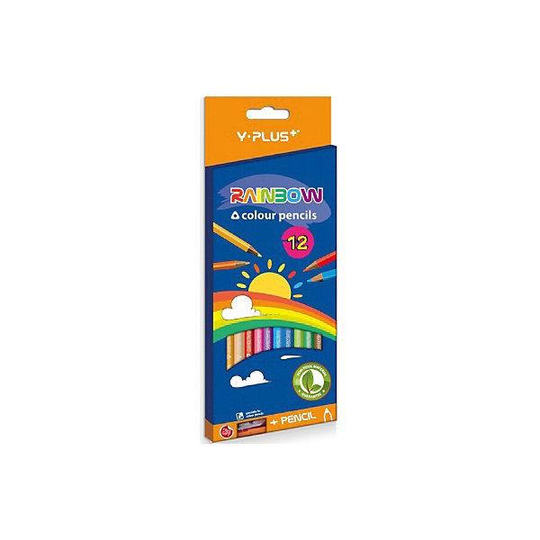 цена на Rainbow Набор цветных карандашей+точилка Y-Plus RAINBOW, 12 цв.