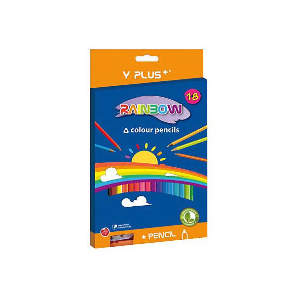 Rainbow Набор цветных карандашей+точилка Y-Plus RAINBOW, 18 цв.