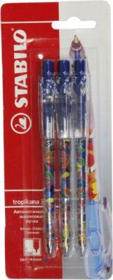 STABILO Ручка синяя, 3 шт. ручка шариковая stabilo marathon синяя