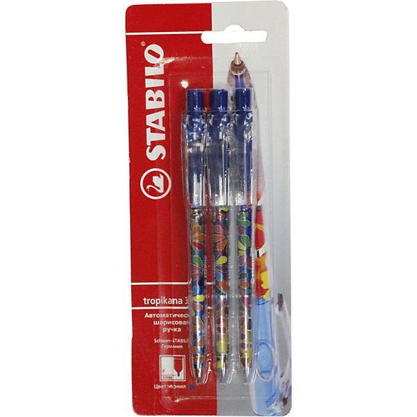 Ручка синяя, 3 шт.Ручки<br>Ручка синяя, 3 шт. от марки Stabilo<br><br>Удобные немецкие ручки от компании Stabilo в прозрачном корпусе. Пишущий инструмент отличного качества! Автоматическая шариковая ручка имеет заменяемый стержень и надежный клип.<br>Отлично ложится в руке, пишет мягко. Дает аккуратную линию. Чернил хватает на долгое время! Чернила быстро сохнут. В наборе - три ручки. с синими чернилами и разными яркими корпусами.<br><br>Особенности данной модели:<br><br>ширина оставляемого следа: 0,3 мм;<br>цвет корпуса: разноцветный.<br><br>Ручка синяя, 3 шт. от марки Stabilo можно купить в нашем магазине.<br>Ширина мм: 204; Глубина мм: 80; Высота мм: 10; Вес г: 9; Возраст от месяцев: 36; Возраст до месяцев: 2147483647; Пол: Унисекс; Возраст: Детский; SKU: 4684727;