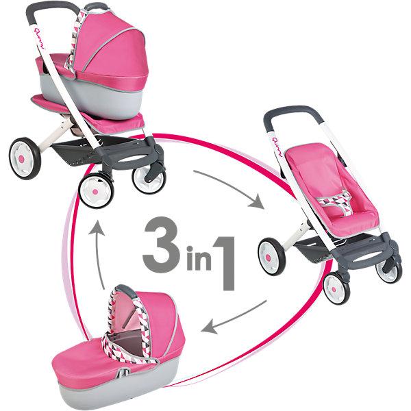Коляска-трансформер для кукол 3в1 Smoby MC&amp;QuinnyТранспорт и коляски для кукол<br>Коляска-трансформер для кукол 3в1 MC&amp;Quinny, Simba (Симба)<br><br>Характеристики:<br><br>• 3 положения<br>• легкая и маневренная<br>• эргономичные ручки<br>• прорезиненные колеса<br>• передние колеса вращаются<br>• материал: пластик, металл, текстиль<br>• размер коляски: 53,8х45,8х86,5 см<br>• размер упаковки: 38,5х52х65,5 см<br>• вес: 3,5 кг<br><br>Коляска-трансформер - превосходный подарок для девочек, мечтающих поиграть в маму, заботящуюся о своем малыше. Коляску можно использовать как люльку или прогулочную коляску. Колеса имеют прорезиненное основание. Передние колеса вращаются на 360 градусов. С учетом возраста ребенка, коляска является очень легкой и маневренной. Ручки коляски удобны для детского захвата. Дно люльки изготовлено из прочного пластика, а верхняя часть - из мягкого текстиля.<br><br>Коляску-трансформер для кукол 3в1 MC&amp;Quinny, Simba (Симба) вы можете купить в нашем интернет-магазине.<br>Ширина мм: 541; Глубина мм: 342; Высота мм: 208; Вес г: 3330; Возраст от месяцев: 36; Возраст до месяцев: 60; Пол: Женский; Возраст: Детский; SKU: 4687214;