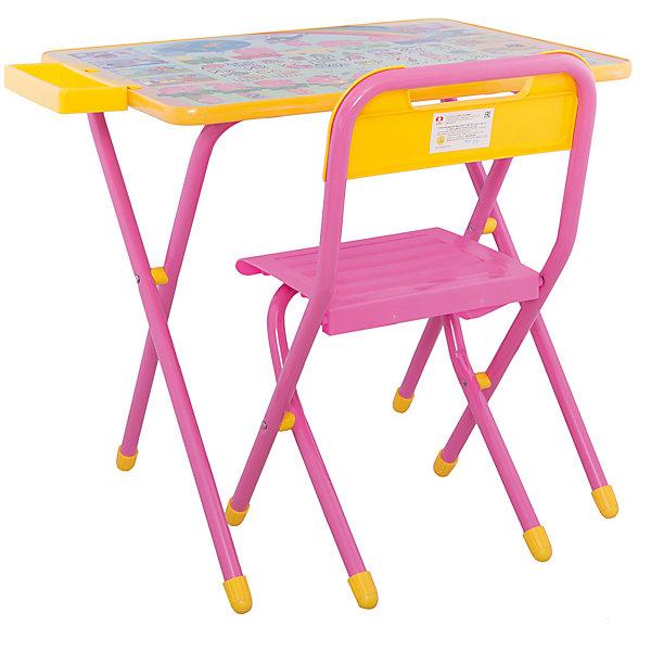 Набор детской складной мебели Слоники, Дэми, розовыйДетские столы и стулья<br>Каждый ребенок нуждается в удобной, специальной мебели, чтобы его организм мог развиваться правильно. Такая мебель может быть еще и яркой, а также выполнять обучающую функцию.<br>Набор детской складной мебели Слоники - это универсальный комплект необходимых предметов для малыша. Он состоит из стула и стола, выполненных в ярких цветах. Столешница позволяет разместить на ней все необходимые предметы: можно есть, играть или учиться! На ней расположены обучающие рисунки, также прикреплен специальный пенал для канцелярии. Разработан в соответствии с рекомендациями врачей-ортопедов. Сделан из безопасных для ребенка материалов.<br><br><br>Дополнительная информация:<br><br>материал: металл, пластик;<br>просторная столешница;<br>оригинальный яркий дизайн;<br>обучающие изображения на столешнице;<br>легко моется;<br>соответствует рекомендациям ортопедов;<br>боковой пенал для канцелярии;<br>для детей ростом от 130 до 145 см;<br>размер столешницы: 45 х 60 см;<br>высота столешницы: 58 см;<br>высота стула: 34 см;<br>сиденье: 26х28 см;<br>спинка: 12х34 см;<br>максимальная нагрузка: 40 кг.<br><br>Набор детской складной мебели Слоники можно купить в нашем магазине.<br>Ширина мм: 77; Глубина мм: 73; Высота мм: 15; Вес г: 8500; Возраст от месяцев: 48; Возраст до месяцев: 96; Пол: Унисекс; Возраст: Детский; SKU: 4693954;