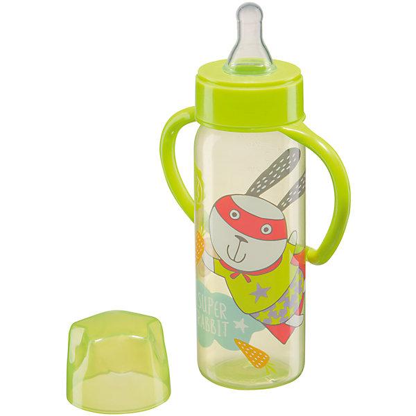 Фотография товара бутылочка для кормления с ручками, 250 мл, Happy Baby, лайм (4696781)